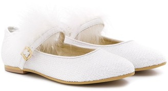 MonnaLisa Feathered Ballet Pumps