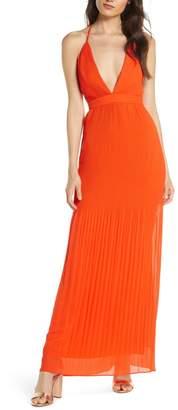 Fame & Partners The Caspian Plunge Neck Plisse Chiffon Gown
