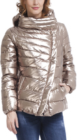 Gold Asymmetric-Zip Puffer Coat