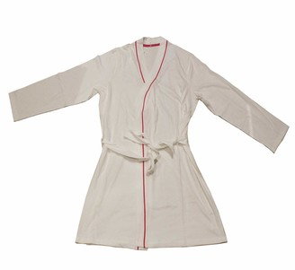 George Ladies Womens I DO Dressing Gown Robe Hen Party Bridal Wedding 100% Cotton Medium 12-14 White Pink