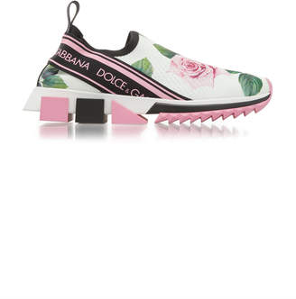Dolce & Gabbana Sorrento Floral-Print Stretch-Knit Slip-On Sneakers Si