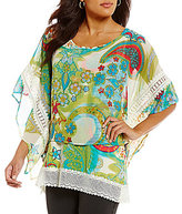 Multiples Printed Flowy Cape Top
