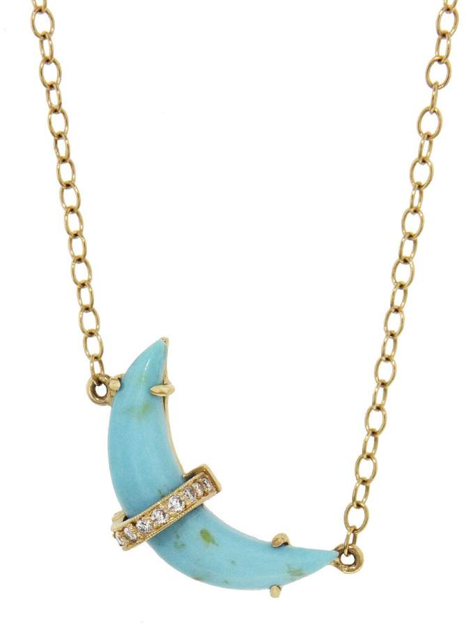 Andrea Fohrman Sleeping Beauty Turquoise Crescent Moon Necklace