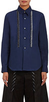 Comme des Garcons Women's Embroidered-Stripe Cotton Shirt-NAVY