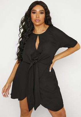 Missguided Plus Size Black Tie Front Mini Dress