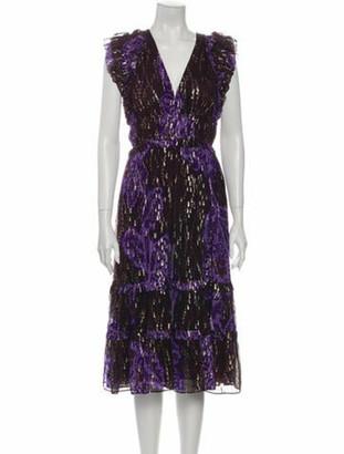 Ulla Johnson Silk Midi Length Dress Metallic