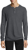 Vince Jersey Mix-Stitch Long-Sleeve Henley T-Shirt, Heather Carbon