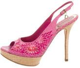 Christian Dior Raffia-Accented Snakeskin Platform Sandals