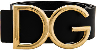 Dolce & Gabbana Logo Belt in Black & Gold   FWRD