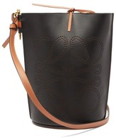 Loewe Gate Anagram-perforated Leather Bucket Bag - Womens - Black Tan