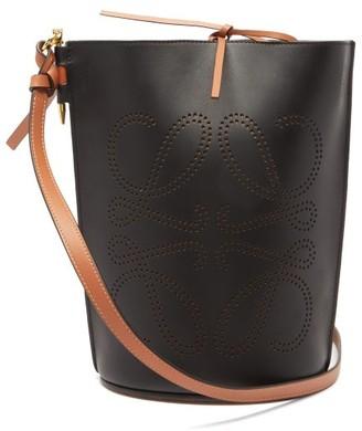 Loewe Gate Anagram-perforated Leather Bucket Bag - Womens - Black Tan