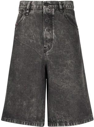 Diesel Wide-Leg Denim Shorts