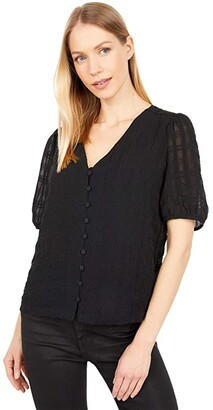 Madewell Textured Puff-Sleeve Button-Front Top (True Black) Women's Clothing