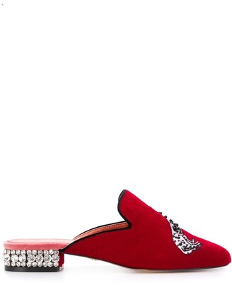 Kurt Geiger Dalmation-Embroidered Mules