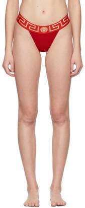 Versace Underwear Red Greca Border Thong