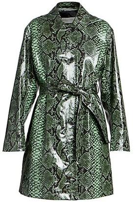Dries Van Noten Snakeskin-Print Patent Belted Trench Coat