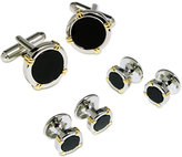 Geoffrey Beene Cufflinks Set, Black Epoxy Circle Cufflinks Boxed Set