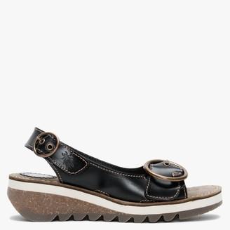 Fly London Tram II Black Leather Sandals