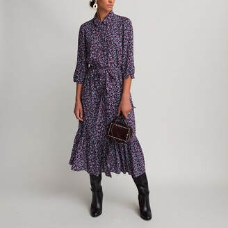 La Redoute Collections Tiered Midi Shirt Dress in Floral Print with Elbow-Length Sleeves