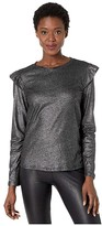 MICHAEL Michael Kors Foil Linen Long Sleeve Ruffle Top (Black/Silver) Women's Clothing