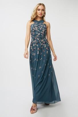 Little Mistress Ellarose Ditsy Floral Belted Maxi Dress