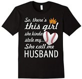 Women's This Girl Stole My Heart Funny Baseball Call Husband T-Shirt Small