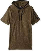 Southpole Men's Short Sleeve Slub Hooded Sweatshirt with Taping Detail
