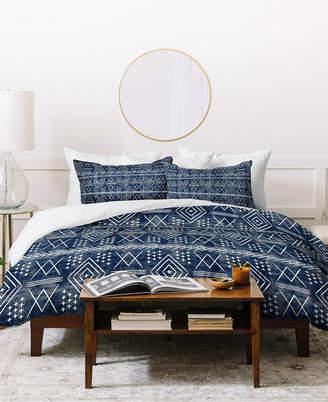 Deny Designs Little Arrow Design Co Vintage Moroccan On Blue Duvet Set Bedding