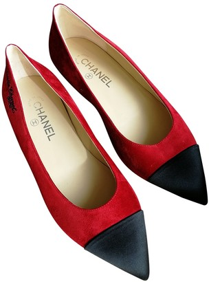 Chanel Red Suede Ballet flats
