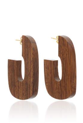 Sophie Monet Gold-Plated Wood Hoop Earrings