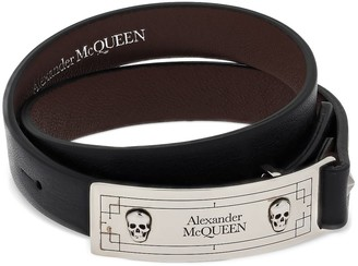 Alexander McQueen Double Wrap Logo & Leather Bracelet