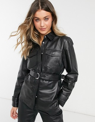 Object leather shacket in black