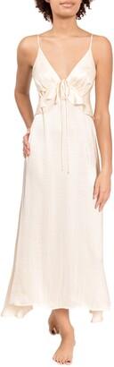 Everyday Ritual Empire Ruffle Satin Nightgown