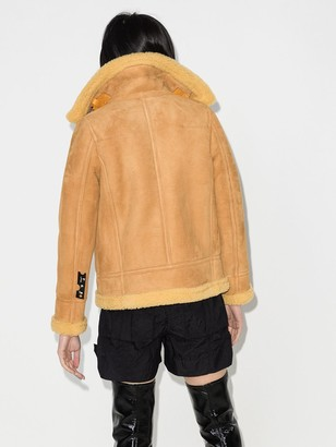 Off-White Aviator style shearling coat