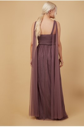 Little Mistress Bridesmaid Eden Mauve Knot-Front Maxi Dress