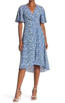 ASTR the Label Ruched Front Floral Print High/Low Midi Dress