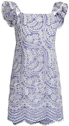 Alice + Olivia Honor Ruffle Eyelet Cotton Dress