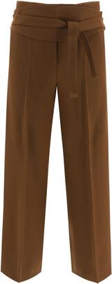Max Mara ALBINO TROUSERS SASH BELT 38 Brown Wool