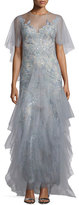 Marchesa Embellished Evening Gown W/Cape, Light Blue