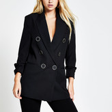 River Island Black double breasted ruched sleeve blazer