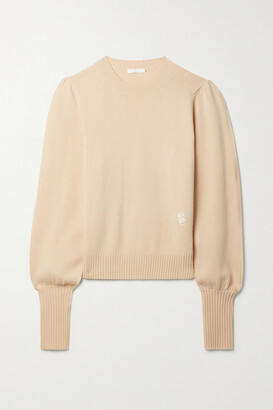Chloe - Embroidered Cashmere Sweater - Neutrals