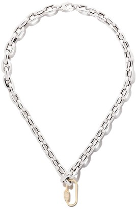 """As 29 18kt Yellow God Diamond Oval Carabiner (Medium), 18kt White Gold 18"""" Bold Links Chain Necklace"""
