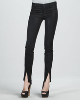 J Brand Jeans Stealth Coated Mid-Rise Skinny Jeans