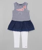 Tommy Hilfiger Navy Stripe Ruffle Tunic & Leggings - Infant