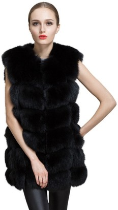 Harrystore Women Coat HARRYSTORE UK Women Long Slim Vest Faux Fox Fur Waistcoat Jacket Coat Warm Gilet Cardigan Outwear Black