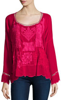Johnny Was Puzzle Scalloped Georgette Top, Pinkberry