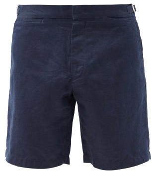 Orlebar Brown Norwich Linen Shorts - Navy