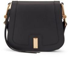 HUGO BOSS Italian Leather Saddle Bag With Signature Hardware - White