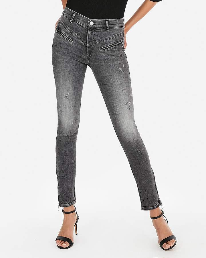 Express High Waisted Denim Perfect Zip Ankle Leggings