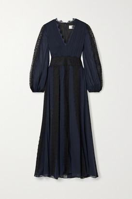 La Ligne Margaret Lace-trimmed Silk-georgette Maxi Dress - Navy